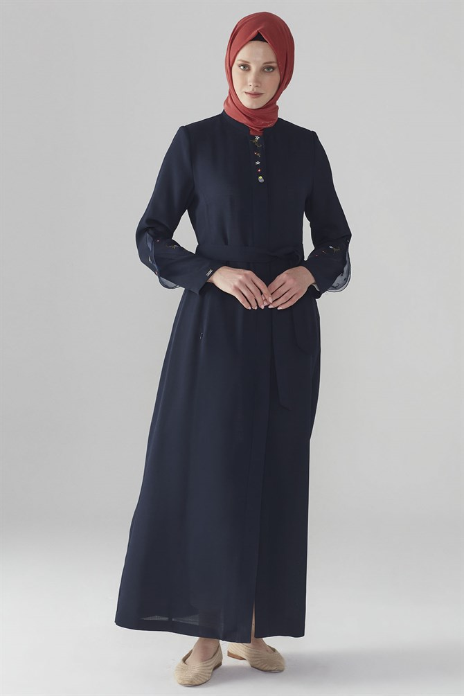 Zühre Embroidery & Organza Detail Topcoat Navy Blue 11409
