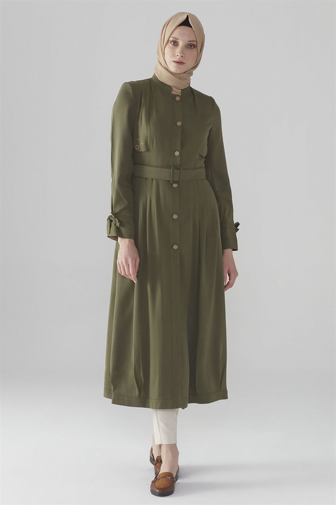 Zühre Long Cap Model With Front Snap Fastening Detail Khaki 9884