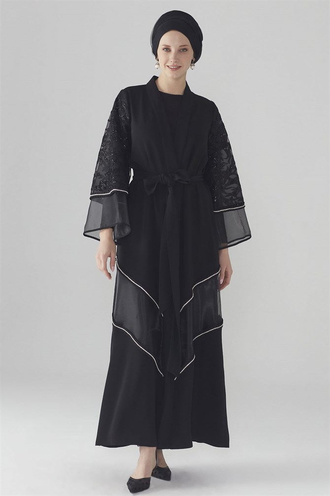 Zühre Abaya With Lace Detail Black ABY-0002
