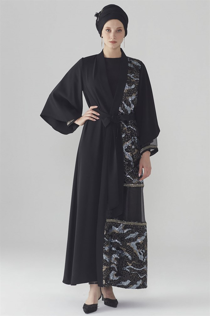 Zühre Abaya With Sequin Detail Black ABY-0006