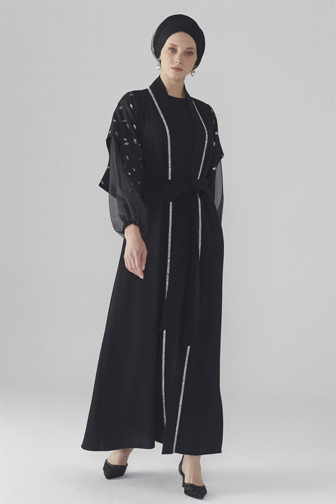 Zühre Abaya With Glitter Print Detail Black ABY-0007