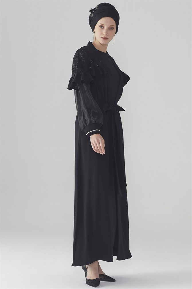 Zühre Abaya With Sleeve Ribbon Detail Black ABY-0013