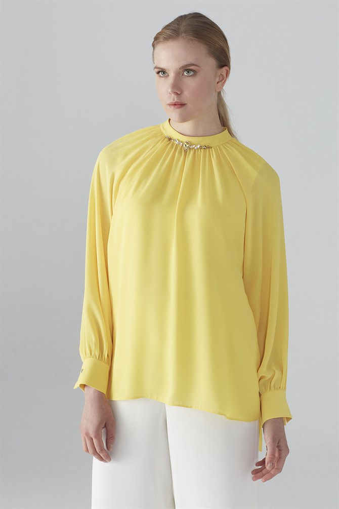 Zühre Blouse With Collar Embroidered Detail Yellow B-0050