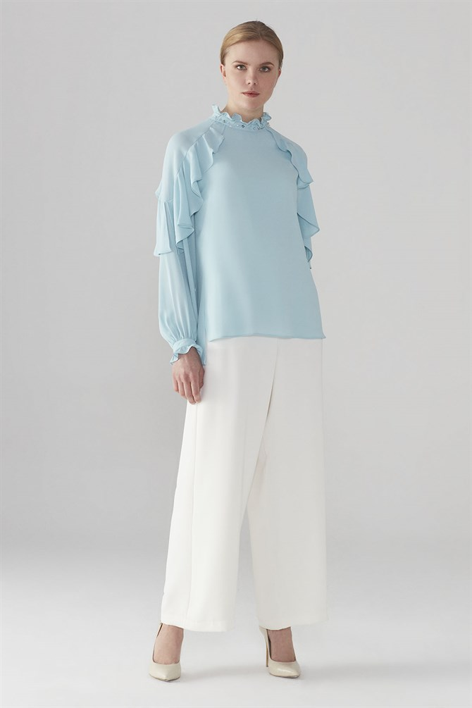 Zühre Blouse With Collar Embroidered Detail Blue B-0051