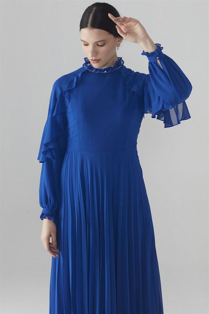 Zühre Dress With Flywheel Sleeve Saxe D- 0105