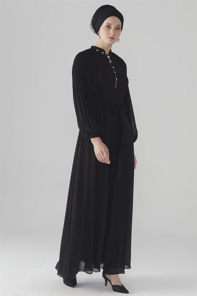 Zühre Dress With Flywheel Sleeve Black E-0108