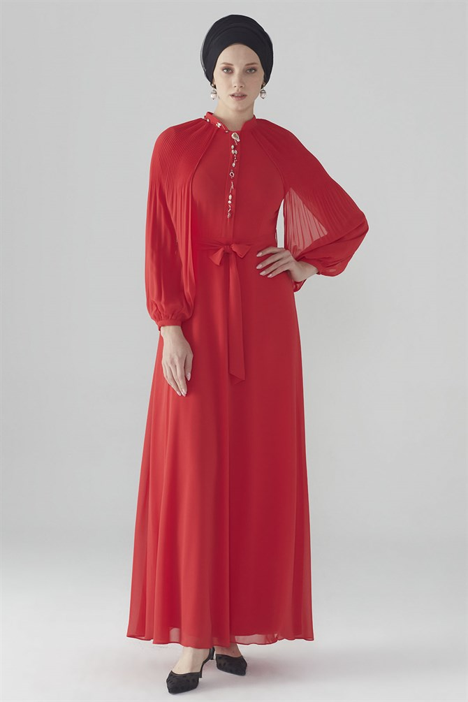 Zühre Dress With Flywheel Sleeve Red E-0108