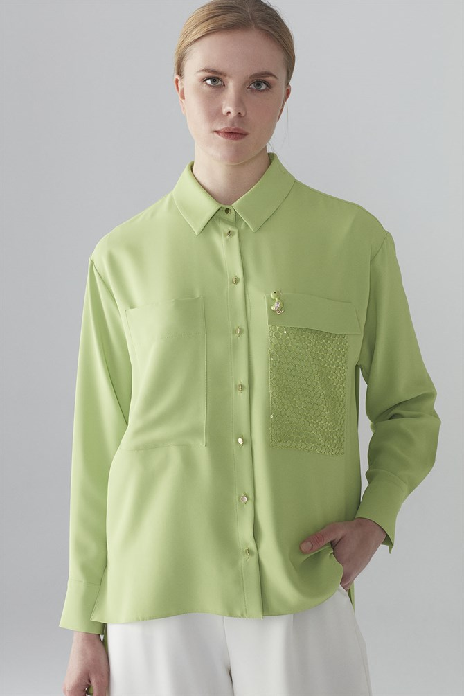 Zühre Shirt With Brooch Detail Green G-0029