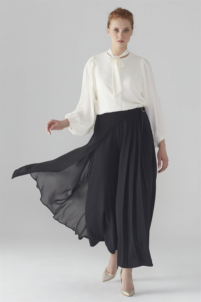 Zühre Plentiful Cut Pants With Top Chiffon Detail Black P-0099