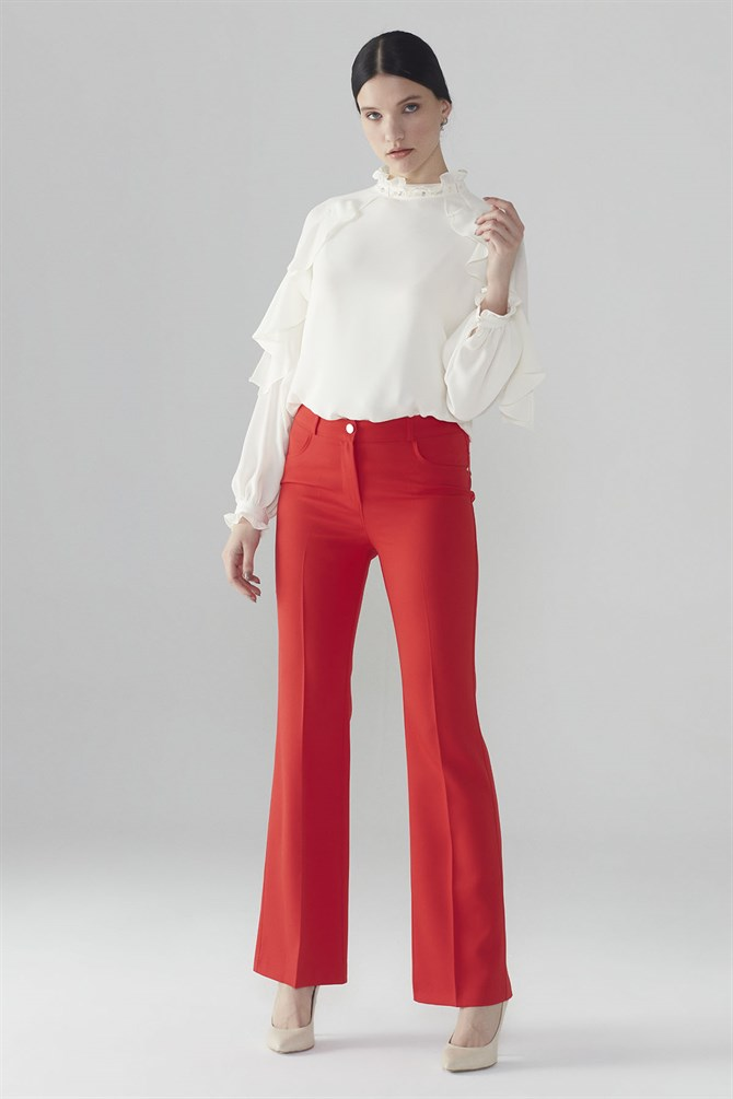 Zühre Pants With Button Detail Red P-0103