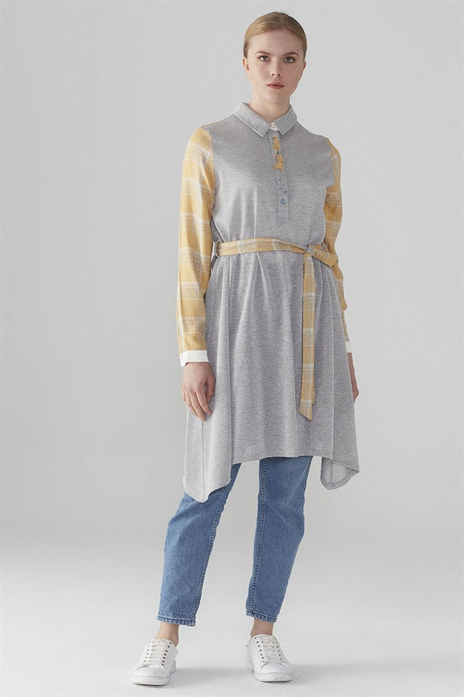 Zühre Front Embroidery Detail Tunic Grey T-0608