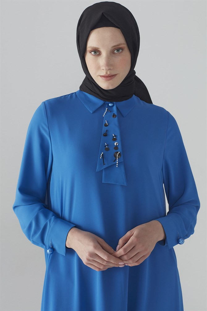 Zühre Tunic With Pearl Bottun Saxe T-0711
