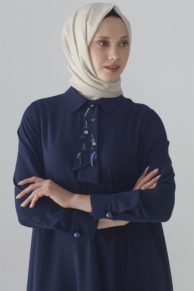 Zühre Tunic With Pearl Bottun Navy Blue T-0711