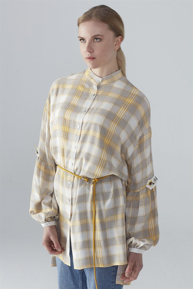 Zühre Plaid Pattern Sleeve Processing Detailed Tunic Yellow T-0814
