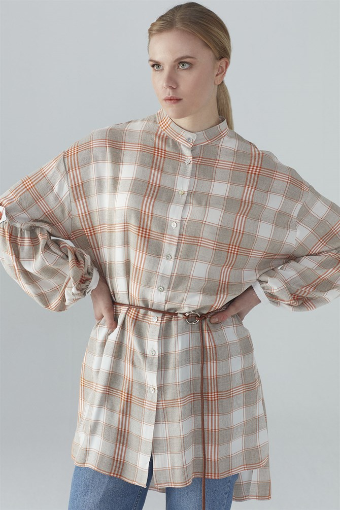 Zühre Plaid Pattern Sleeve Processing Detailed Tunic Orange T-0814