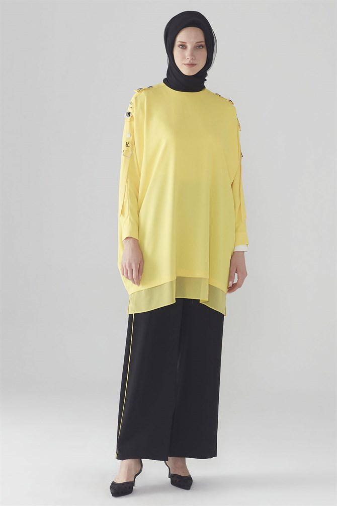 Zühre Suit With Embroidery Sleeve Detail Yellow- Black TK-0560