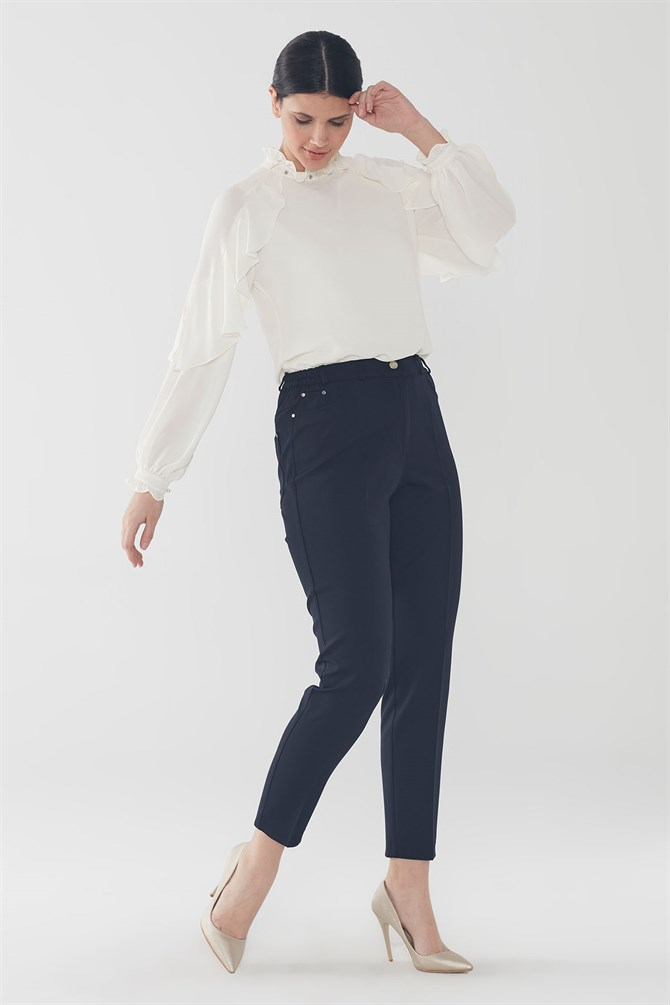 Zühre Pants With Pocket Detail Navy Blue P-0106