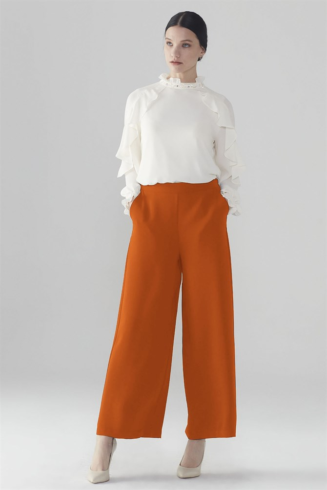 Zühre Wide Trotter Pants Orange P-0013