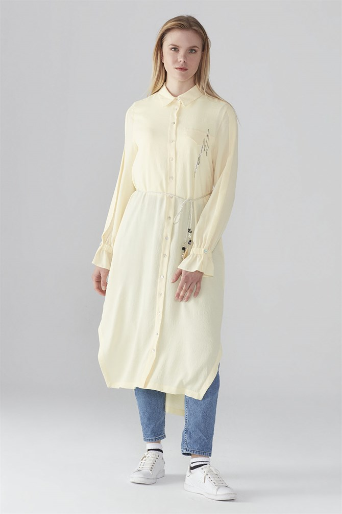 Zühre Tunic With Front Button Detail Yellow T-0428