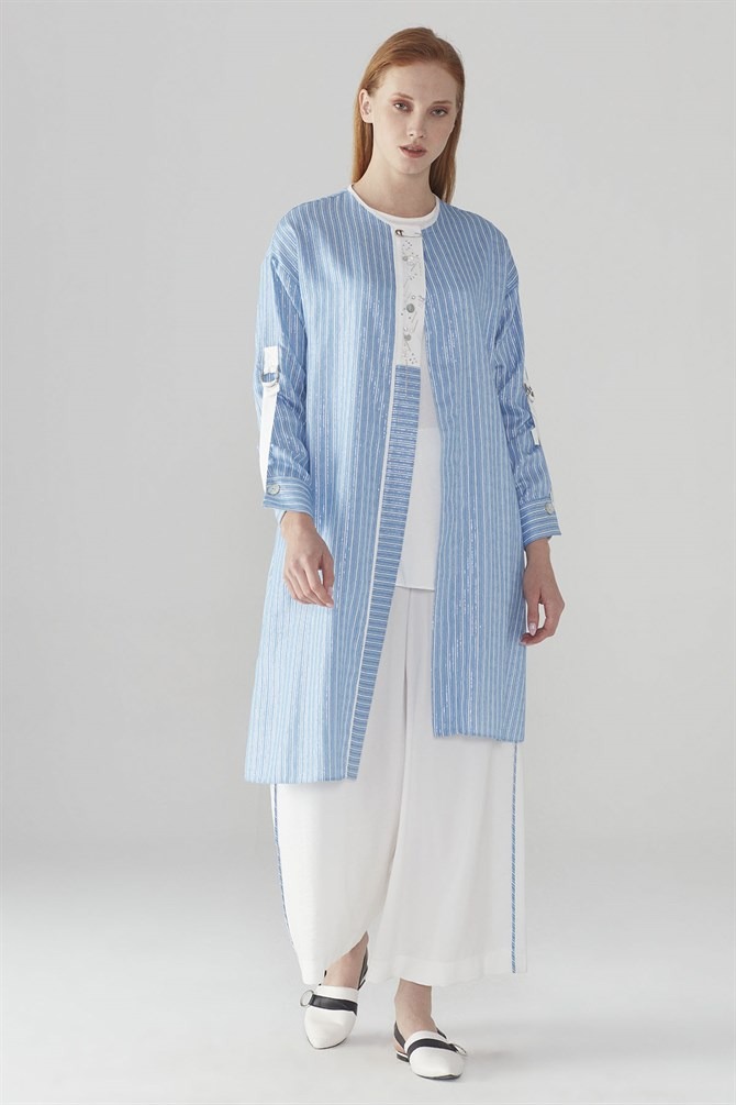 Zühre Suit With Pants Front Embroidery Detail Blue - Ecru TK-0549