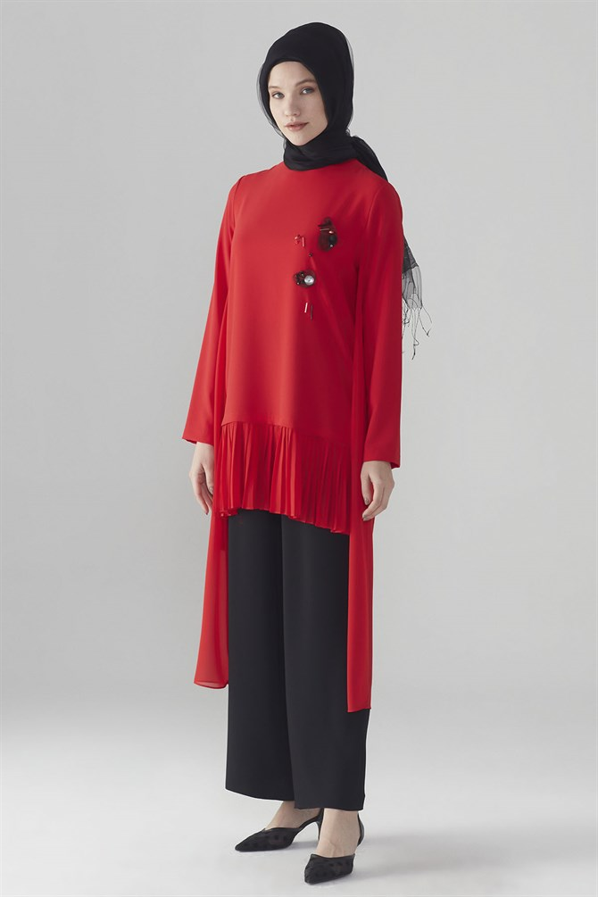 Zühre Suit With Front Embroidery Red - Black TK-0280