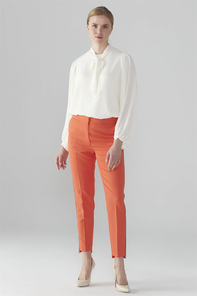Zühre Stripe Detailed Pants Orange P-0038