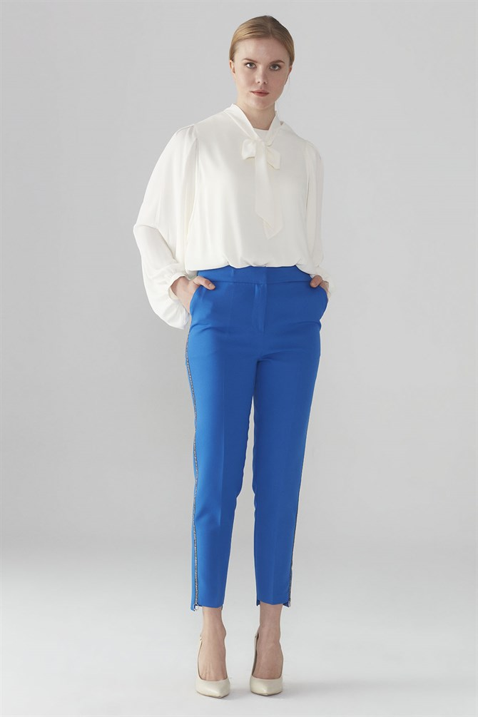Zühre Stripe Detailed Pants Saxe P-0038