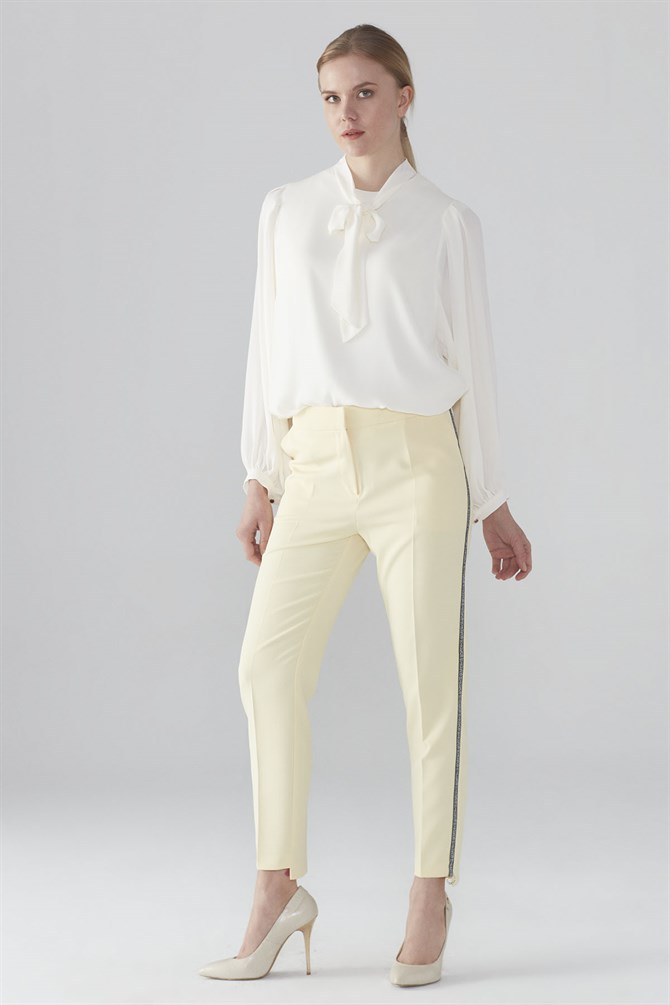 Zühre Stripe Detailed Pants Yellow P-0038
