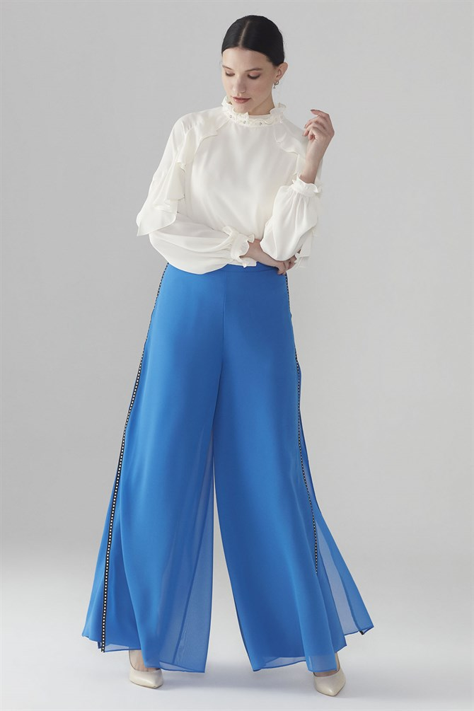 Zühre Plentiful Cut Pants With Top Chiffon Detail Saxe P-0073