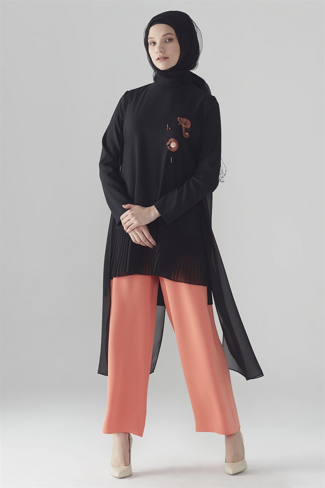 Zühre Suit With Front Embroidery Orange- Black TK-0280