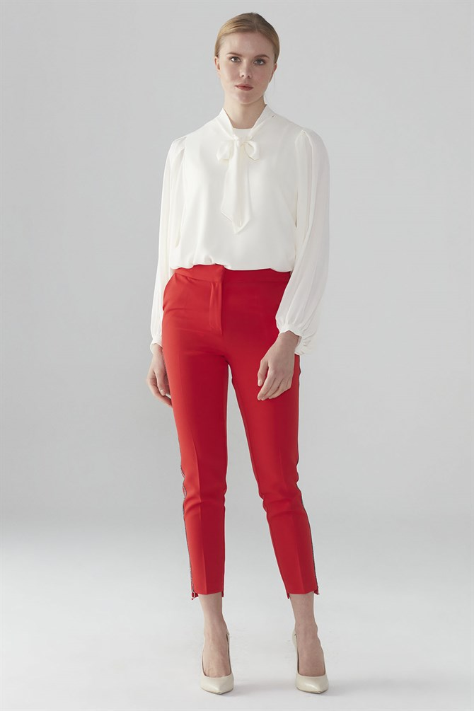 Zühre Stripe Detailed Pants Red P-0038